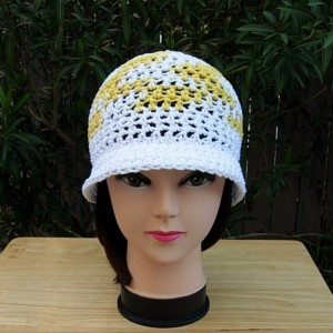 Bright Yellow and White Summer Beach Sun Hat, 100% Cotton Women's Crochet Knit Beanie Bucket Cap with Cloche Brim, Ready to Ship in 3 Days