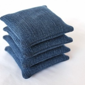 Denim Bean Bags Educational Toy Homeschool Sensory Upcycled Blue Jeans (Set of 4)