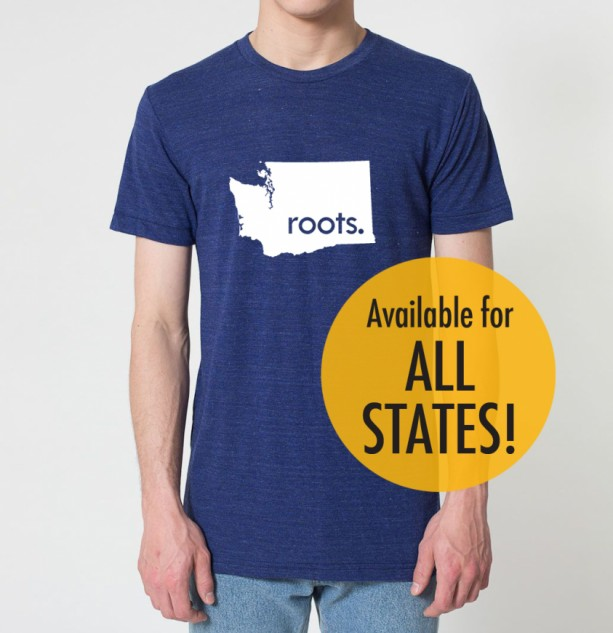 State 'roots.' Tri Blend Track T-Shirt - Unisex Tee Shirts Size S M L XL