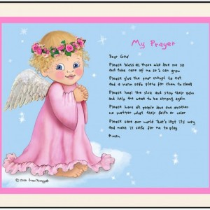 My Prayer Angel Matted Personalized Art Print by Fran Baggett