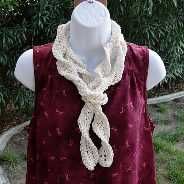 Solid Off White Ivory Skinny SUMMER SCARF Light Cream Small Cotton Crochet Knit Narrow Lightweight Women's, Twisted Spiral Scarf, Ready to Ship in 2 Days