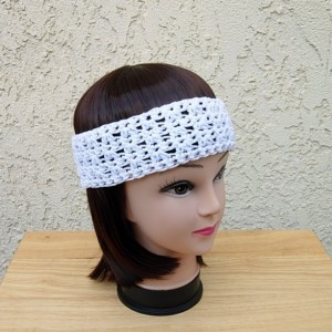 Women's Solid White Summer Headband, Lightweight 100% Cotton Lacy Lace Crochet Knit Boho Festival Beach Hippie Head Band, Ready to Ship in 2 Days