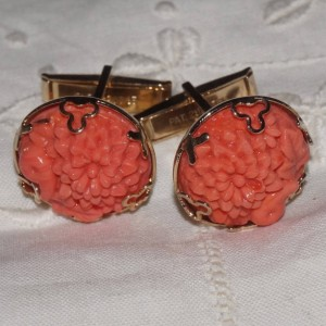 Vintage Carved Coral Floral Art Glass Cuff Links Cufflinks Mumms Marigolds