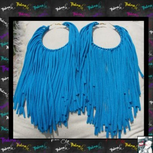 Blue Fringe Earrings,custom made earrings,fabric fringe,blue earrings,Handmade Earrings,Long Fringe,Unique Earrings,Lite Weight