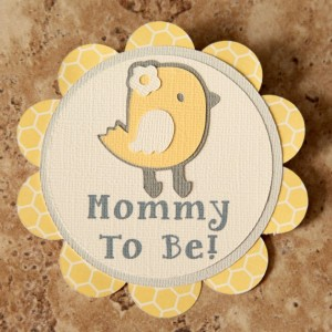 Chick Theme Name Tag Button Pin- yellow cream grey- (Quantity 4)