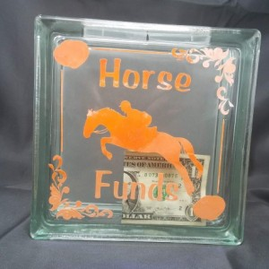 Horse Glass Block Savings Jar