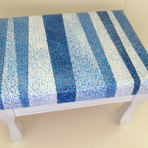 Beachy Upcycled Foot Stool