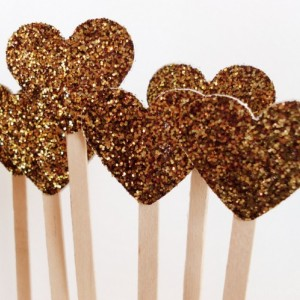 Wedding Drink Stirrers, Wedding Glitter Decor, Golden Heart Cocktail Party Wooden Stir Sticks, Country Rustic, Princess Party Wands,  25 Pcs
