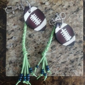 Go Team! Handcrafted Leather Football Keychain with Leather Braid and Beads