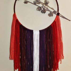 Bohemian Fringe Dream Catcher with a Pinecone Branch Accent - Wall Hanging Home Decor, Peach, Red, Burgundy, Plum, White Wool Fringe
