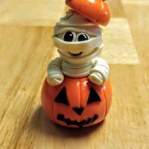 Polymer Clay Glow in the Dark Mummy in a Pumpkin Halloween Home Decor OOAK