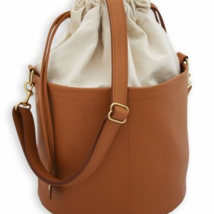 Large Ditty Bag in Amoré - Natural Canvas and Leather - Large Tote - Drawstring Bucket Bag by Beaudin