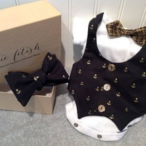 Black and gold anchor vest onesie