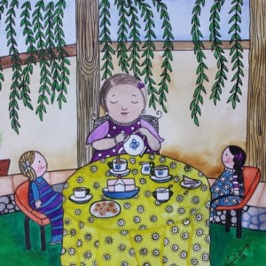 Tea Party Illustration in Ink and Watercolors