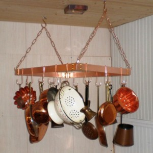 18 X 24 Inch Hanging Solid Copper Pot Rack with 16 hooks and 64 inches of copper chain FREE U S Shipping