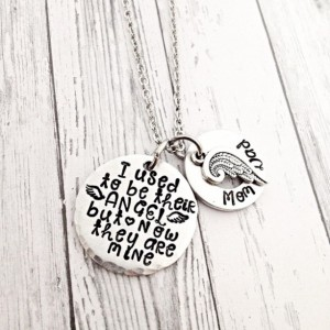 memorial jewelry, memorial necklace, I used to be their angel, but now they are mine, sympathy gift, personalized necklace, parent loss
