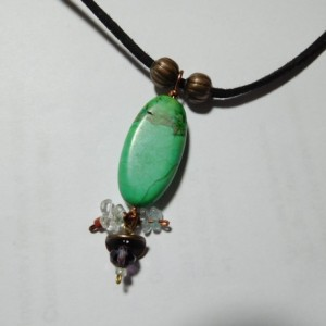 Suede Black Leather necklace with Green turquoise stone pendant and crystals beads. #N00122