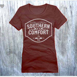 Southern Comfort Whiskey XS To XL District Brand Crew T-shirt For Women In Espresso With White Ink