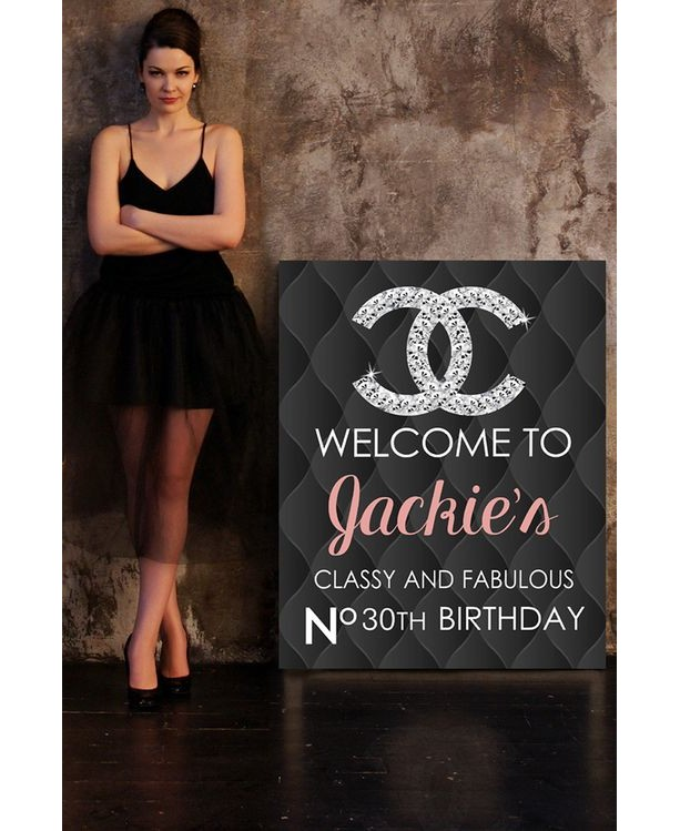 DIY Chanel Inspired Welcome Sign Poster 20x30 Birthday Black Leather Graphic