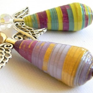 Set of Angel Ornaments - Christmas - Rear View Mirror - Paper Bead