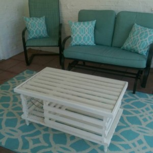 """The """"America"""", Ivory White Finish, Wooden Lobster Trap Table"""