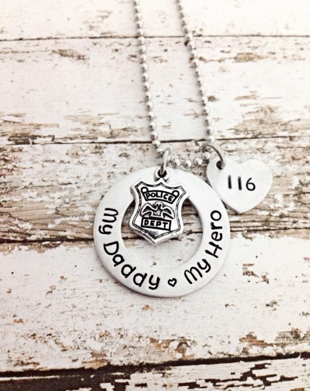 Police officer gifts, daddy daughter set, Police daughter necklace, Badge Number, Hand stamped, my daddy my hero necklace, thin blue line