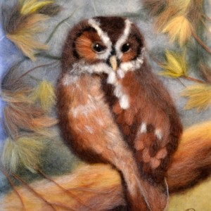 """Wool Painting """"Owl in the autumn forest"""""""