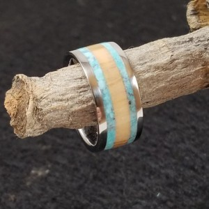 Size 6 3\4 ring, Olive wood , turquoise , Stainless steel ring, custom ring, wooden ring, woman's ring, stainless bands,stainless core