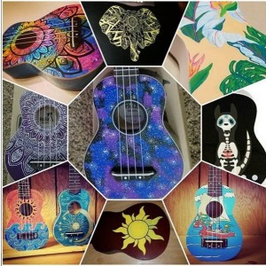 Ukulele Custom Painted, Custom Order Soprano Ukulele, Decorated Ukulele, one of a kind painted ukulele, Ukulele pyrography,  ukelele