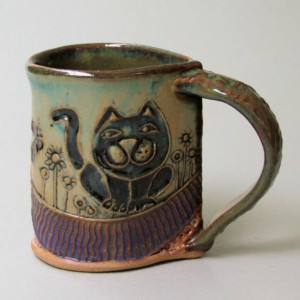 Cat Pottery Mug Coffee Cup Handmade Microwave and Dishwasher Safe 12oz