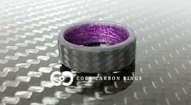 Carbon fiber twill ring with Purple sparkle inside- Matte Finish