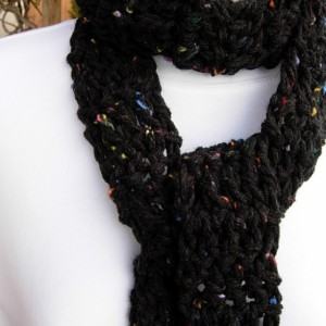 Off Black Tweed Extra Long Skinny Scarf, Dark Charcoal Soft Thick Crochet Knit Narrow Wrap, Women's Neck Tie Scarf, Ready to Ship in 2 Days