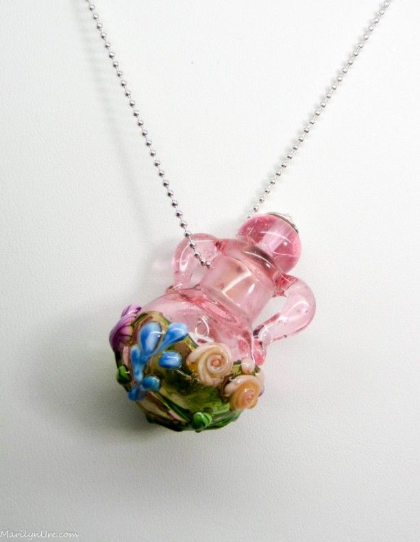 Garden Pink German Glass Handmade Essential Oil Vessel Bead Necklace