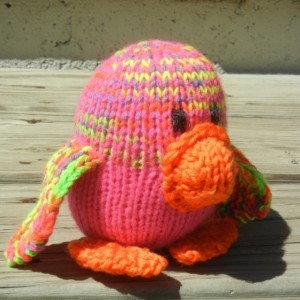 Knit Penguin, Hand Knitted Baby Toy, Infant Neon Penguin,  Multicolored Toy, Gift Under 20, Stuffed Penguin, Ready to Ship, Small Kids Toy