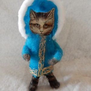 Spun Cotton Ornament Hand Crafted Victorian Cat