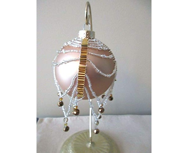 Beaded GOLD Ornament,  Gold and Crystal Swarovski Beads