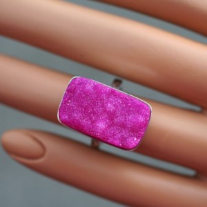 CLEARANCE HOT PINK DRUZY! Solid Sterling Silver Ring / Finger Size 5.75