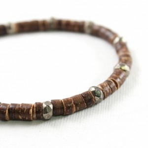 Men's bracelet: coconut bracelet with pyrite, mens jewelry, wooden, brown