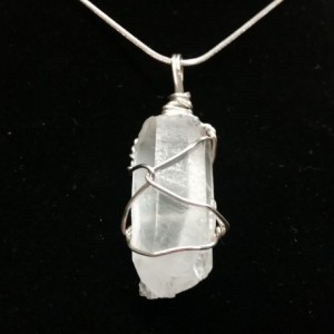 Clear Quartz Crystal Wire Wrapped Pendant Necklace