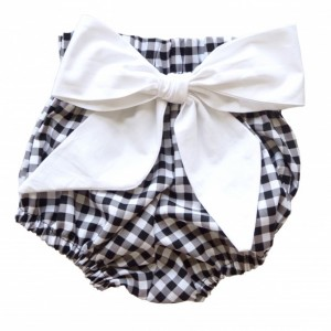 High Waist Bloomer | Black Gingham with White Bow