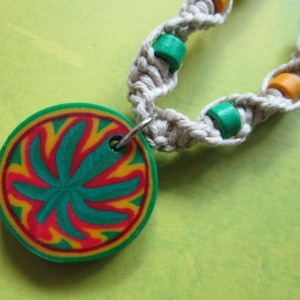 Handmade Natural Hemp Necklace with Awesome Clay Cannabis Leaf Pendant- Rasta Pendant- Rasta Beaded Necklace- Marijuana Leaf Hemp Necklace