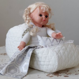 Pattern #3 Doll bassinet carrier of quilted cotton with a pillow and a blanket