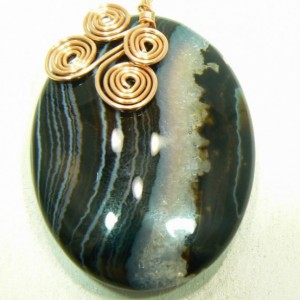 Black Banded Agate Pendant with Hand Made Copper Bail