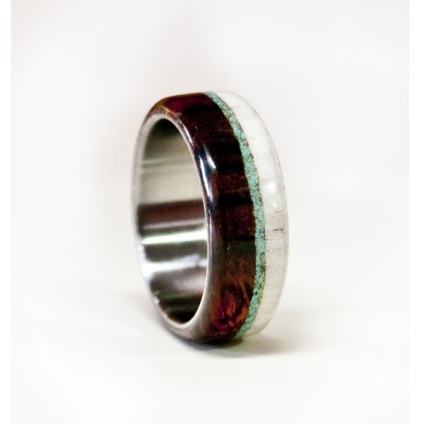 Mens Wedding Band Wood And Antler Ring With Turquoise And