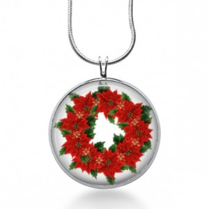 Poinsettia Wreath Necklace - Christmas Jewelry - Holiday Pendant - Flowers