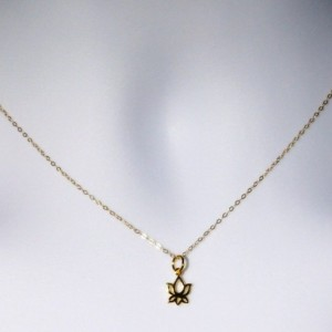 Gold Lotus Necklace - Tiny Gold Lotus Flower Necklace, Gold Filled Necklace, bridesmaid gifts, gold, yellow, Wedding, Moth