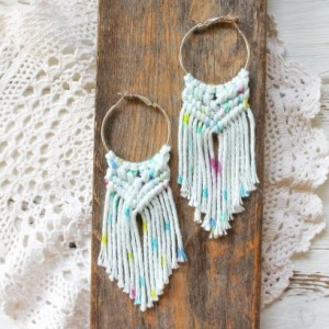 Summer Vibes Macrame Earrings - Boho Earrings - Cotton Earrings - Natural Earrings - Macrame Jewelry - MADE TO ORDER