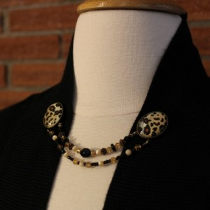 Leopard print cameo and strung beads sweater keeper