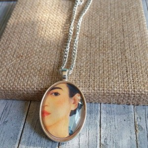 Frida Kahlo Glass Dome Necklace with Pendant