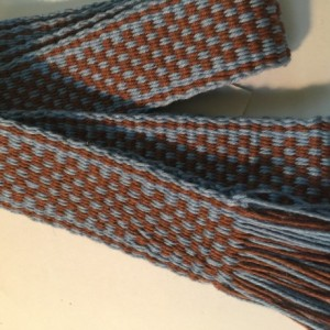 "Inkle Loom woven band Light Blue and Brown 1""x60"". 100% cotton. #60-7101"